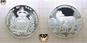 Wolf - Lupus, Silbermünze, 10.000 Lire,  Vorschaubild
