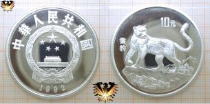 Schneeleopard, 10 Yuan, 1992, China, Endangered Wildlife