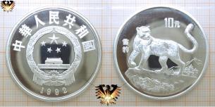 Schneeleopard, 10 Yuan, 1992, China, Endangered Wildlife   Vorschaubild