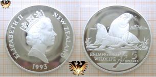 Seelöwe mit Jungen, 5 Dollars, 1993, Neuseeland,  Vorschaubild