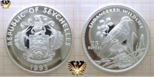 Seychellendajal, 25 Rupees, 1993, Seychellen, gefährdete Tierwelt   Vorschaubild