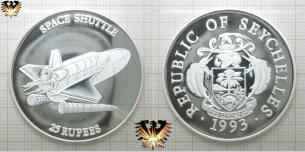 25 Rupees, Republic of Seychelles, 1993, Space Shuttle, Silbermünze