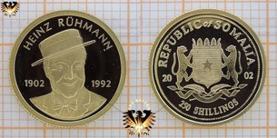 Somalia, 250 Schillings, 2002, Heinz Rühmann, 1902-1992, Republic of Somalia, Gold-Münze