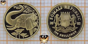 Somalia Republic, 200 Schillings, 2005, Elefant, Kleinste  Vorschaubild