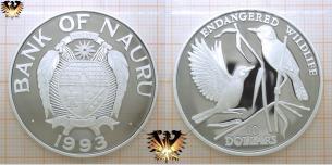 Teichrohrsänger, 10 Dollars, 1993, Nauru, gefährdete Tierwelt,  Vorschaubild