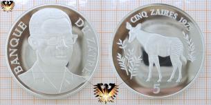 Okapi, Cinq Zaires, 1975, Zaire, gefährdete Tierwelt,  Vorschaubild