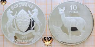 Klippspringer, 10 Pula, 1978, Botswana,  Vorschaubild