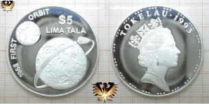 5 Dollar, Lima Tala, 1968 First Orbit, Silbermünze, Tokelau 1993