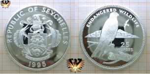 Seychellen-Turmfalke, 25 Rupees, 1995, Seychellen, endangered wildlife,  Vorschaubild