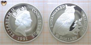 Uhu, 50 Dollars, 1991, Cook Island, Endangered  Vorschaubild