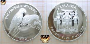 Rotspiegelamazone, 25 Dollars, 1995, Jamaika, Endangered Wildlife   Vorschaubild