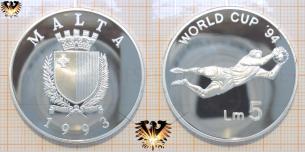 Lm 5, 1993, Malta, Fußballmünze, Silber, Torhüter, World Cup´94,