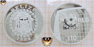 Belize 1994, Silbermünze, Fußball-WM, World Cup, USA´94, Tor und Ball, 10 Dollar