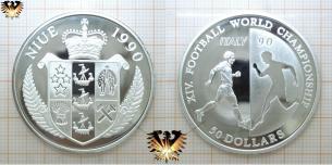 50 Dollars, Niue 1990, World Championship, Fußball,  Vorschaubild