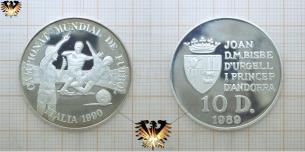 D´Andorra, 10 Diners, 1989 Fussballmünze, Silber, 925   Vorschaubild