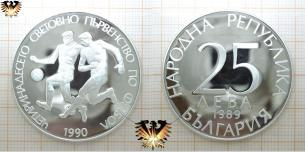 Fußballmünze, Silber, 25 Lewa, Bulgarien 1989, Fußball-WM,  Vorschaubild