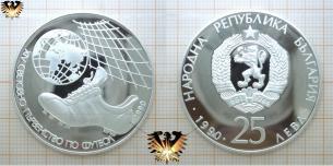 25 Lewa, Bulgarien, WM Münze Silber, Fußballschuh,  Vorschaubild
