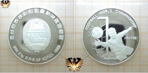 Korea 1989, 500 Won, Fußballmünze, Italy 1990,  Vorschaubild
