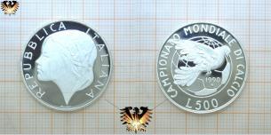 Fußballmünze, 500 L, 1990 Italien, Friedenstaube, Siegesgöttin,  Vorschaubild