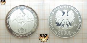 XIV, Fußballmünze, 20000 Złoty, Polen 1989, Italien  Vorschaubild