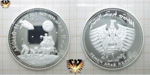 Apollo 11, 20 July 1969 - 1979, Yemen Arab Republic, 1969, 2 Rials Münze aus Silber.