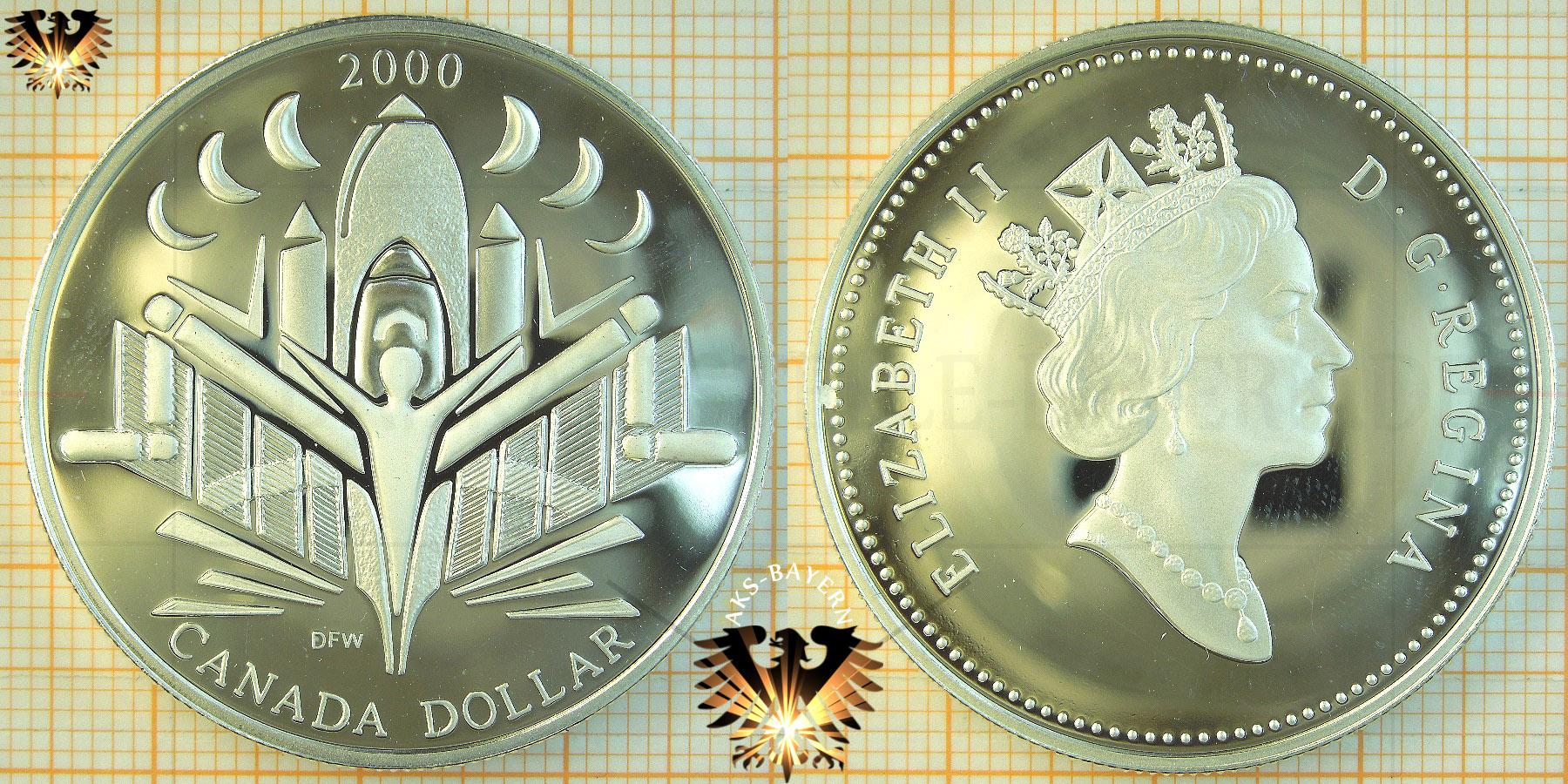 1 Dollar Canada Dollar 2000 Elizabeth Ii Voyage Of Discovery Silver