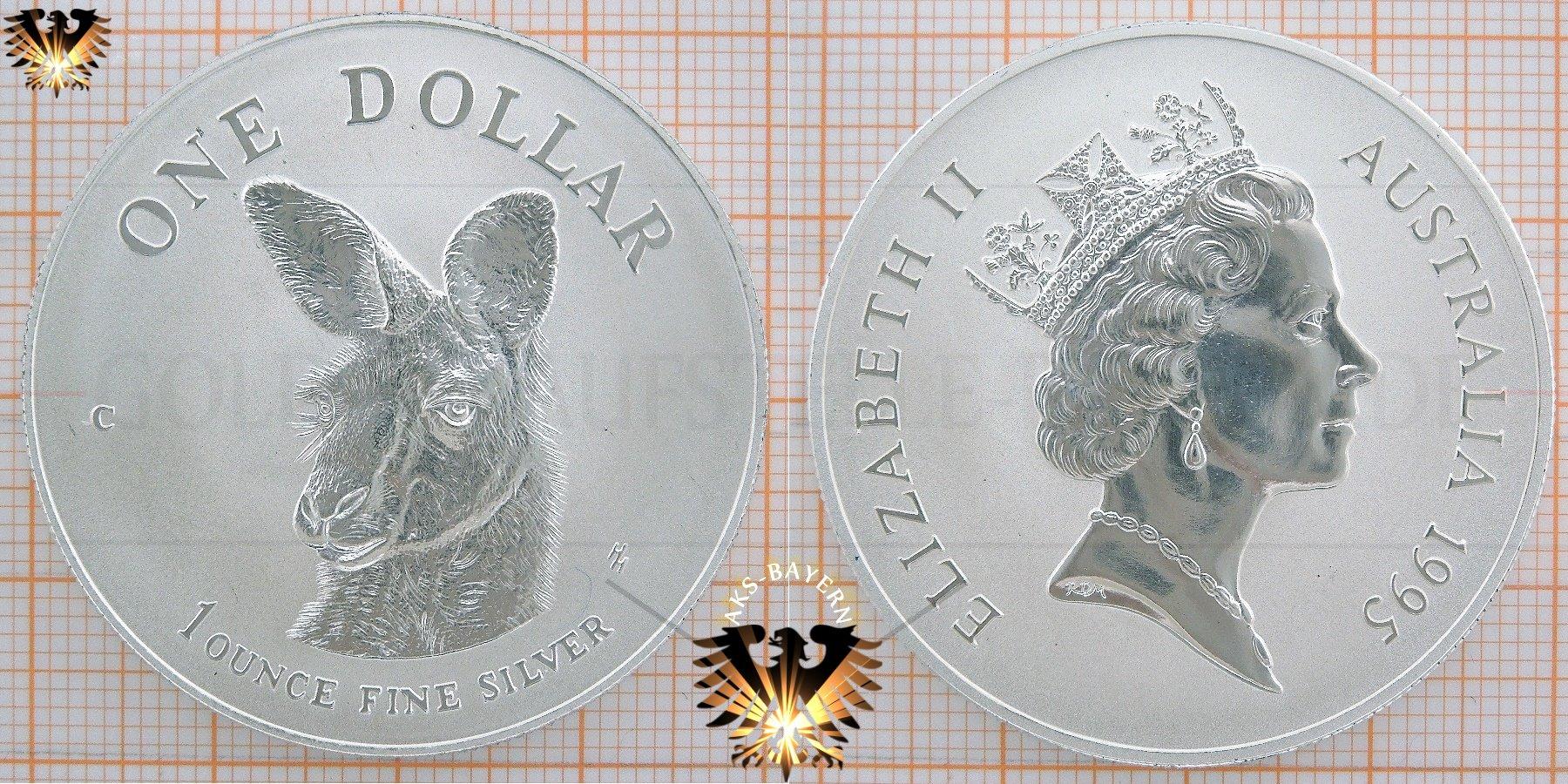 1 Dollar 1995 Australian 180 S Fine Silver Kangaroo 1 Ounce