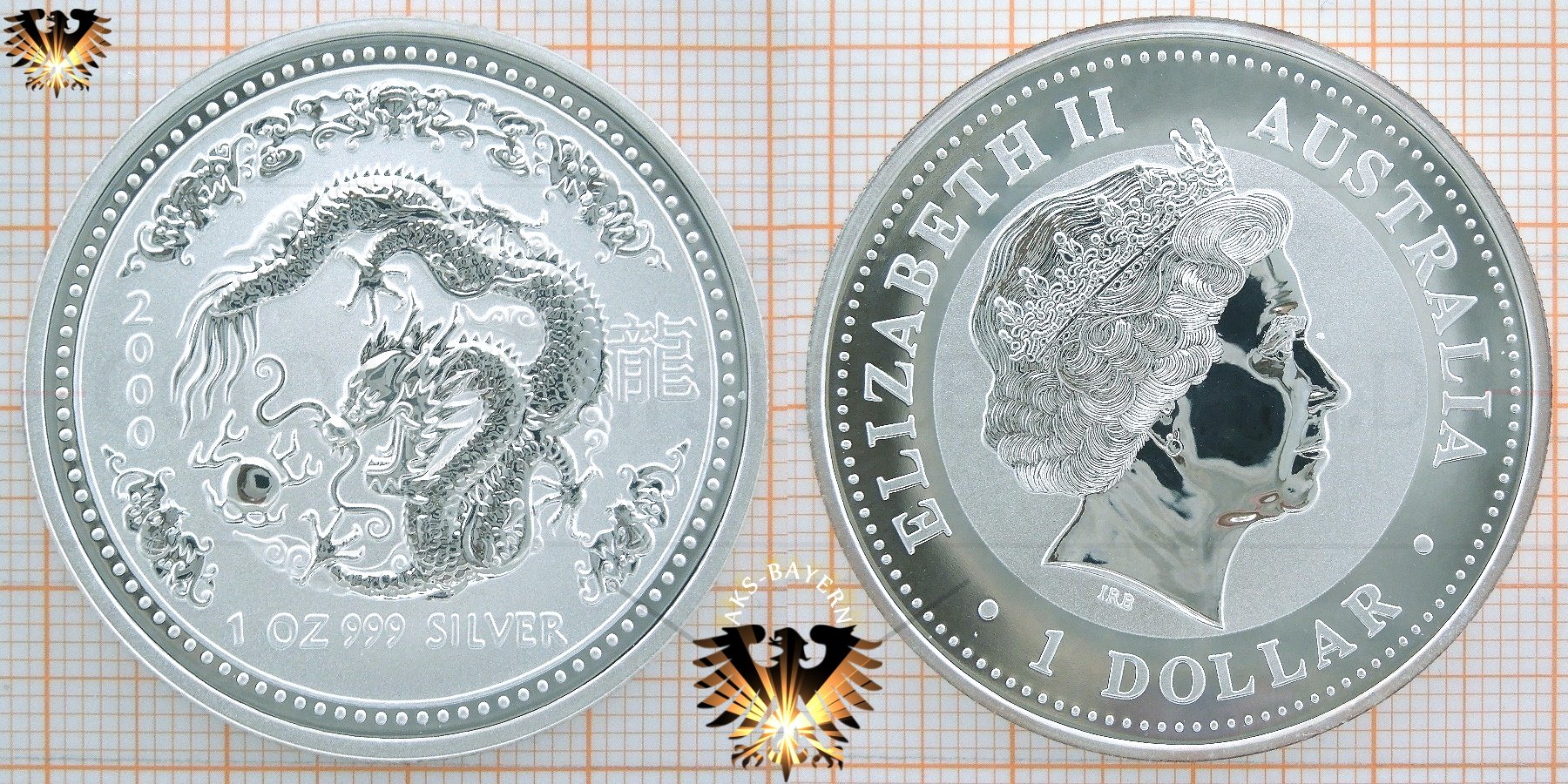 1 Dollar 2000 Australia Year Of The Dragon 1 Unze Feinsilber