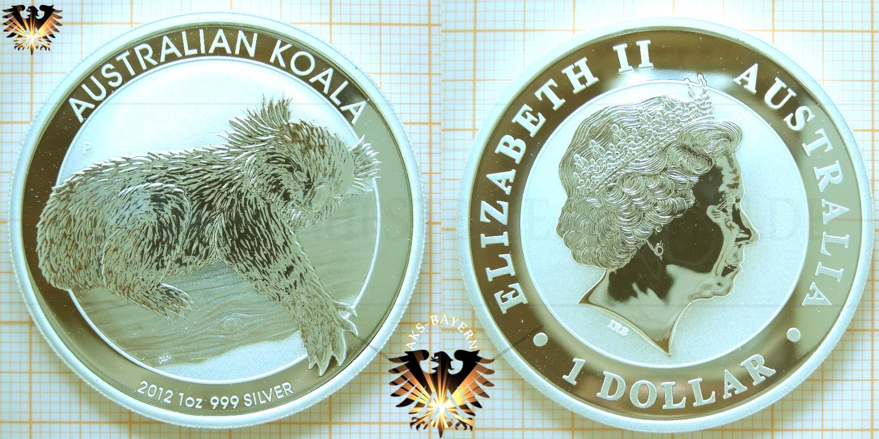 1 Dollar, Australien Koala, 2012, 1 oz Silbermünze, Ankauf - Sammeln - Verkauf © goldankaufstelle-bayern.de
