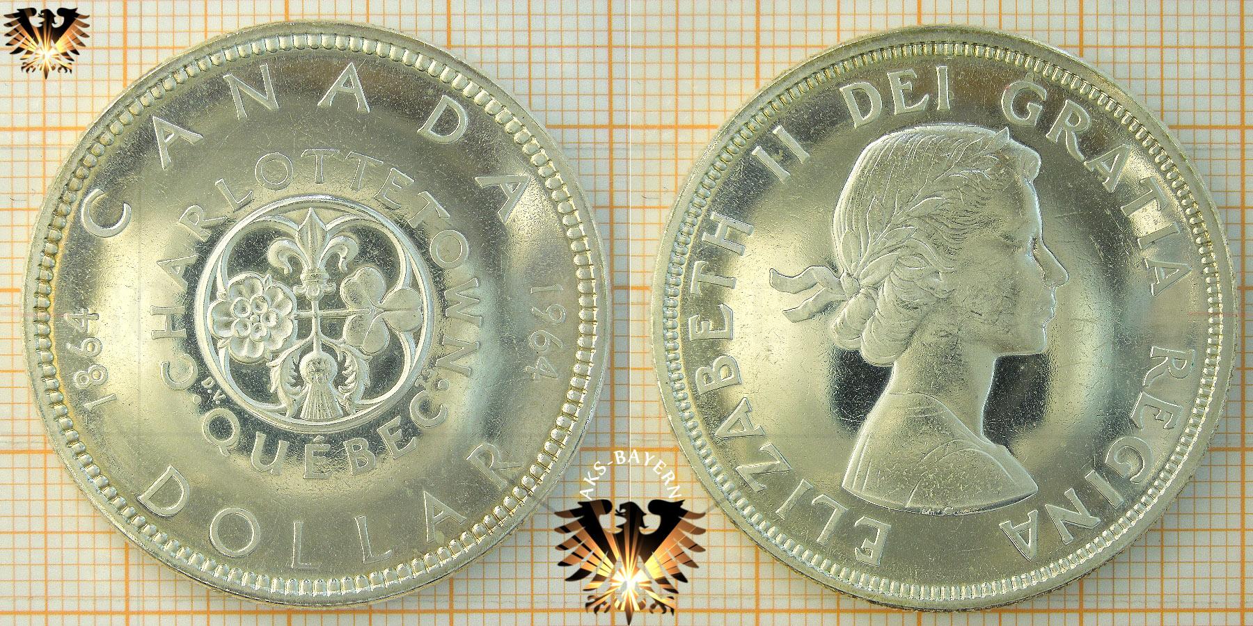 1 Dollar Canada Dollar 1964 Elizabeth Ii Dei Gratia Regina Quebec