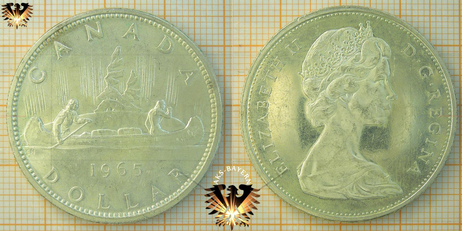 1 Dollar Canada Dollar 1965 Voyageur Elizabeth Ii D G