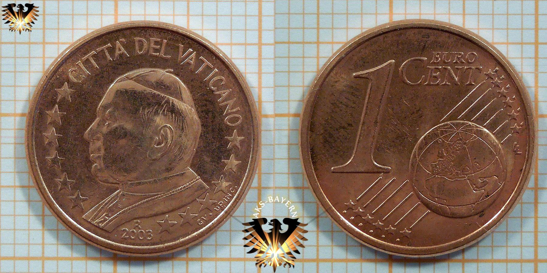 1 Euro Cent Münze Vatikan 2003 Citta Del Vaticano Johannes Paul Ii