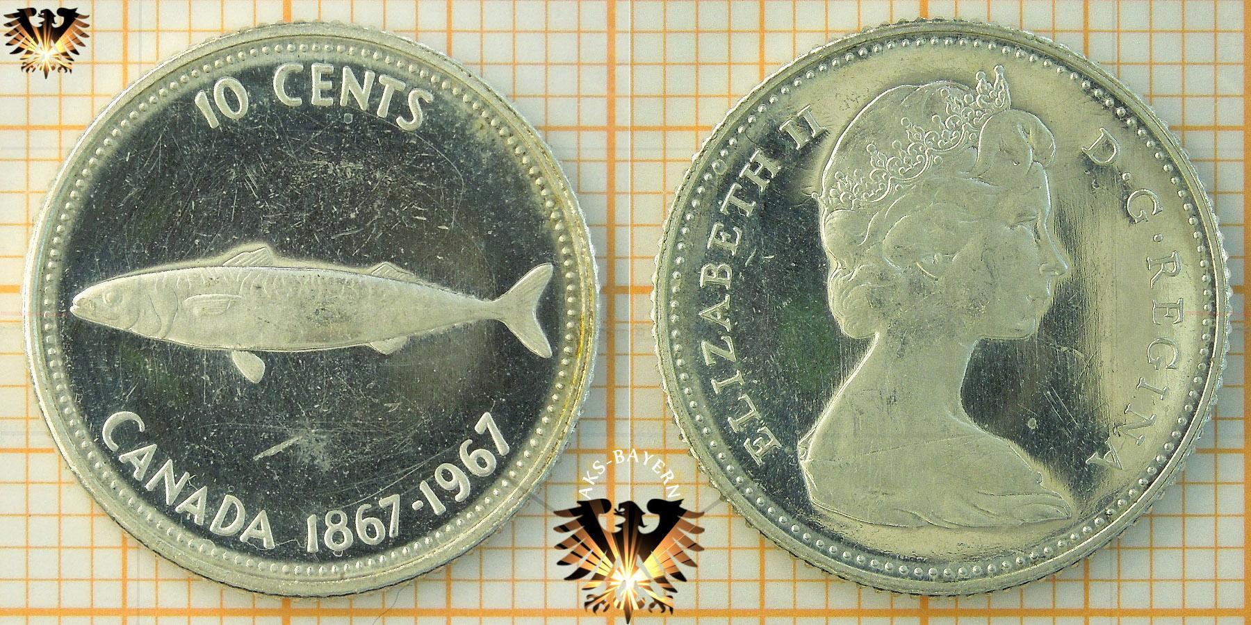 10 Cents Canada 1967 Elizabeth Ii Makrele 1867 1967