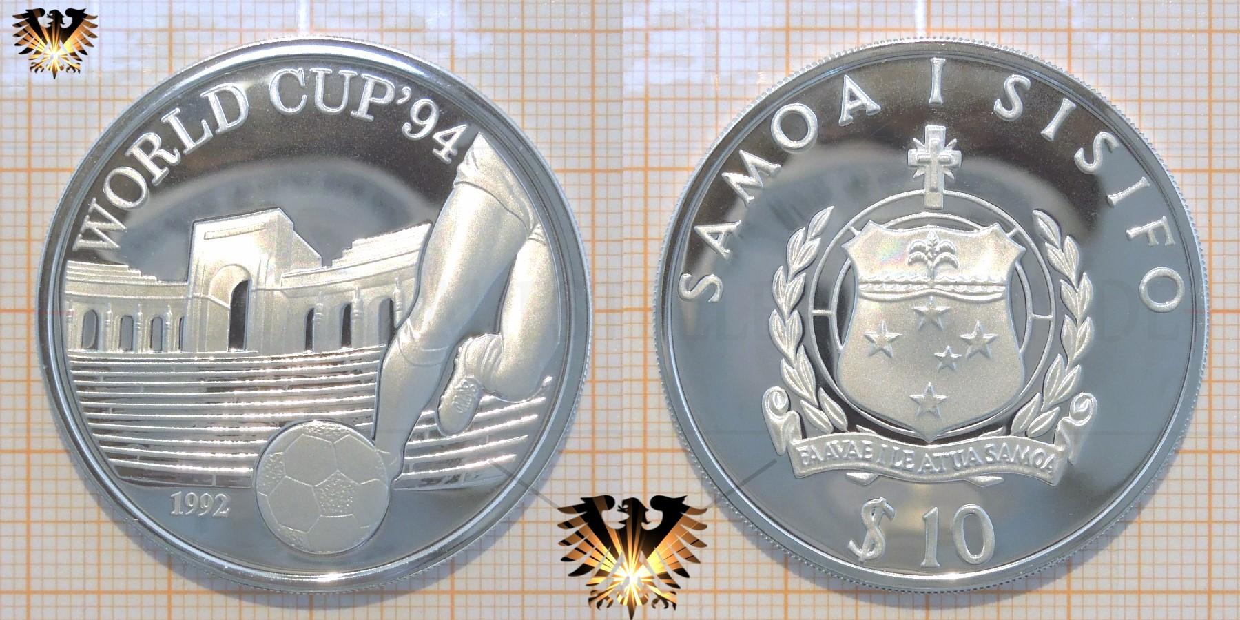 10 Dollars 1992 Samoa I Sisifo World Cup94 Stadion Münze Silber