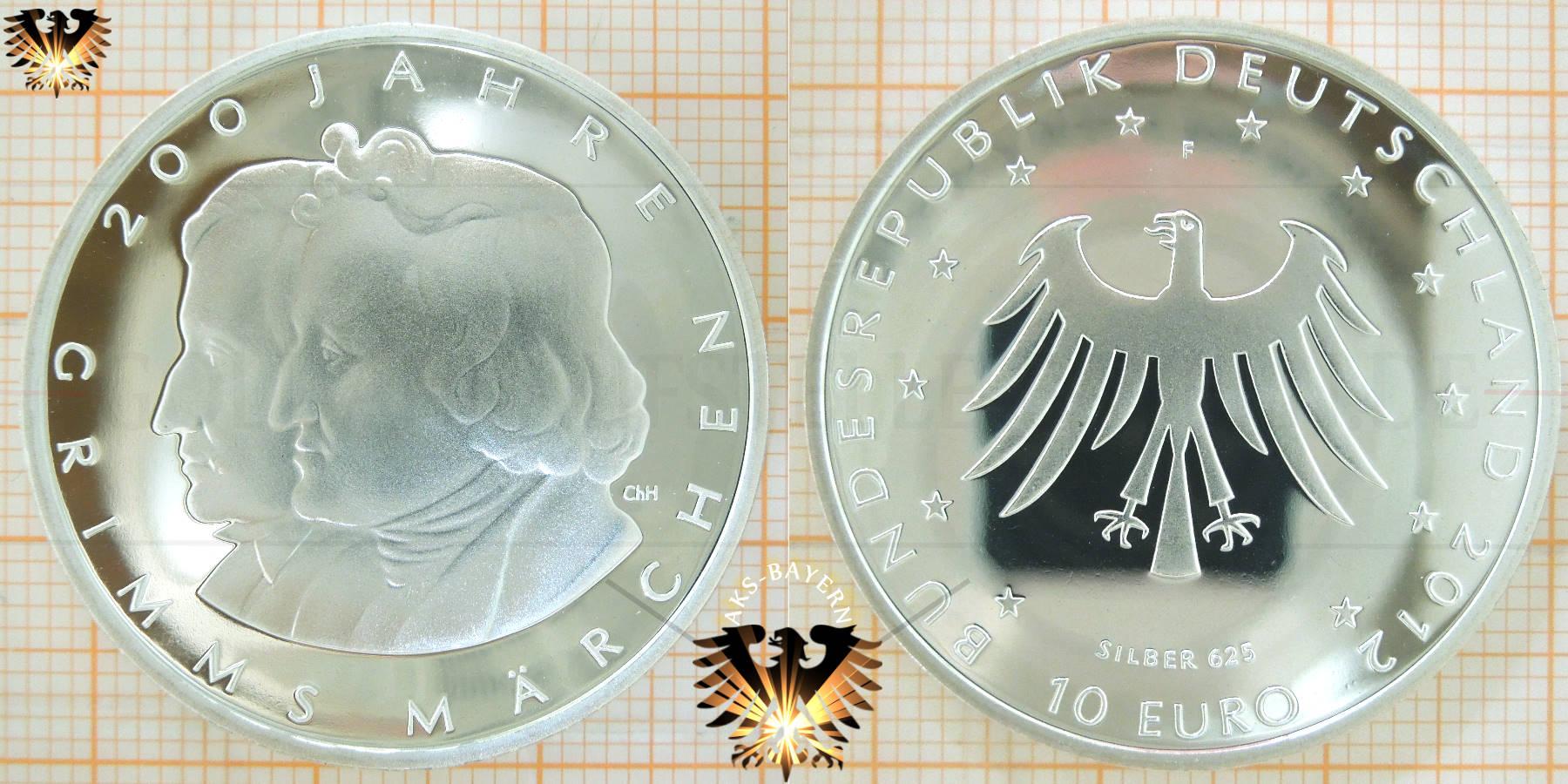 10 Euro Brd 2012 F 200 Jahre Grimms Märchen Silber 625