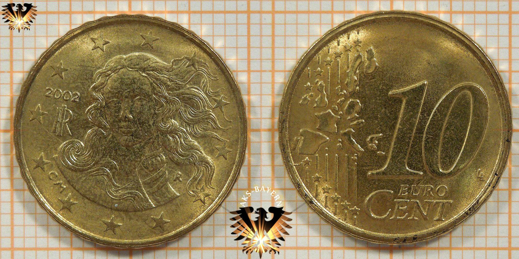 10 Euro Cent Italien 2002 Nominal