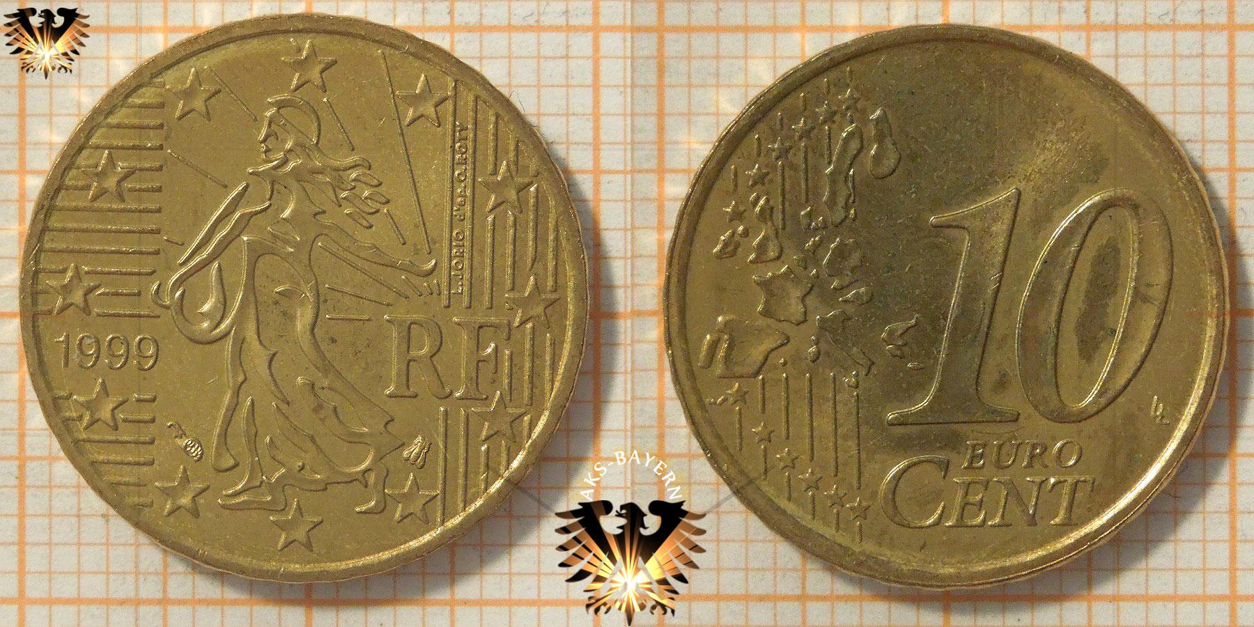 10 Euro Cent Frankreich 1999 Nominal