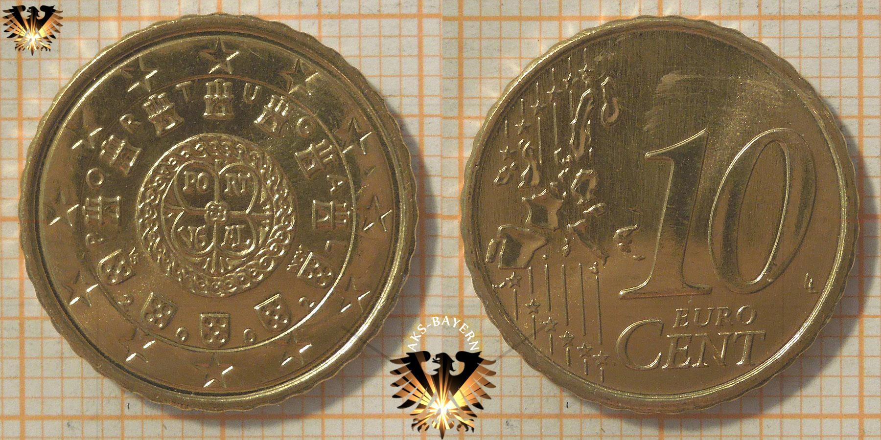 10 Euro Cent Portugal 2002 Nominal Königliches Siegel Von 1142