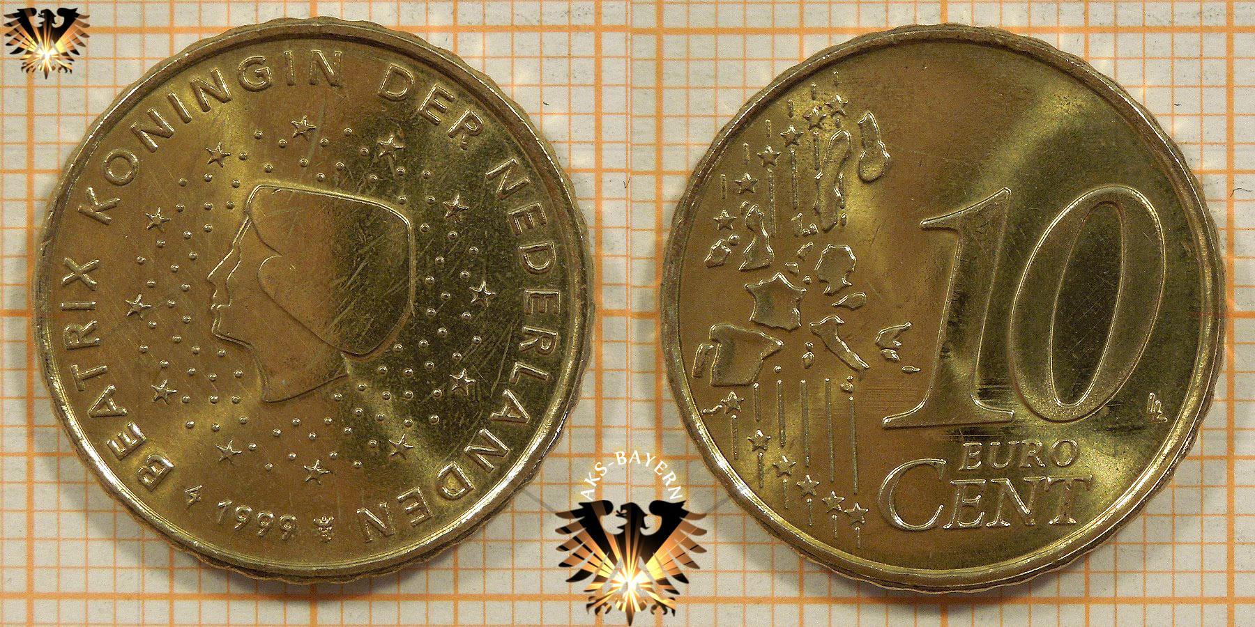 10 Euro Cent Niederlande 1999 Nominal