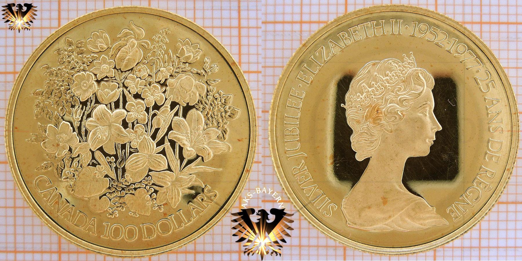 100 Dollars 1977 Canada Elizabeth Ii Golddollar Silver