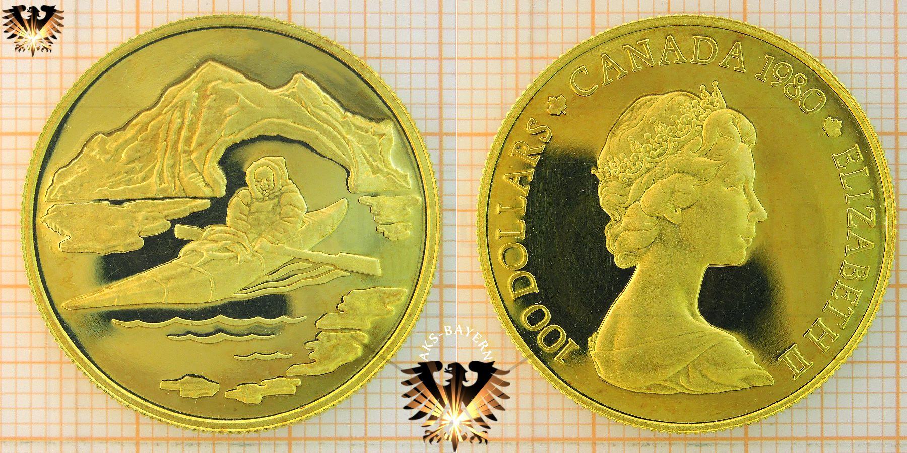 100 Golddollar 1980 Canada Eskimo Goldmünze Diskreter An Und Verkauf
