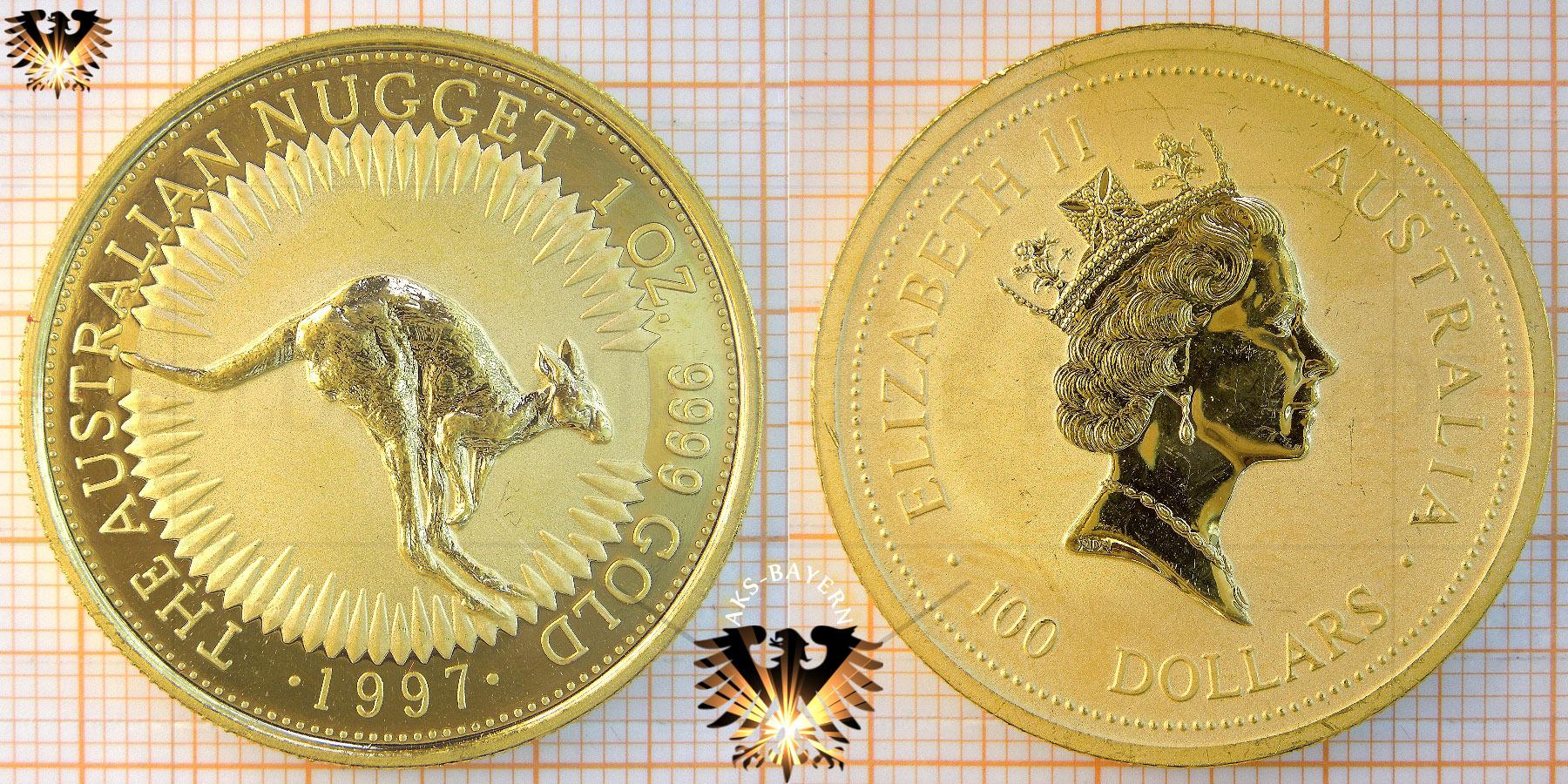 Bullionmünze: AUS, 100 Dollars, 1997, Australian Nugget, Kangaroo, 1oz © goldankaufstelle-bayern.de
