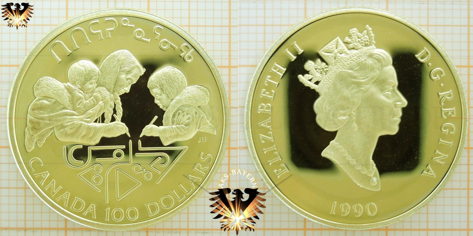 Canada 100 Dollars 1990 Goldmünze Daten Info Wert Preis