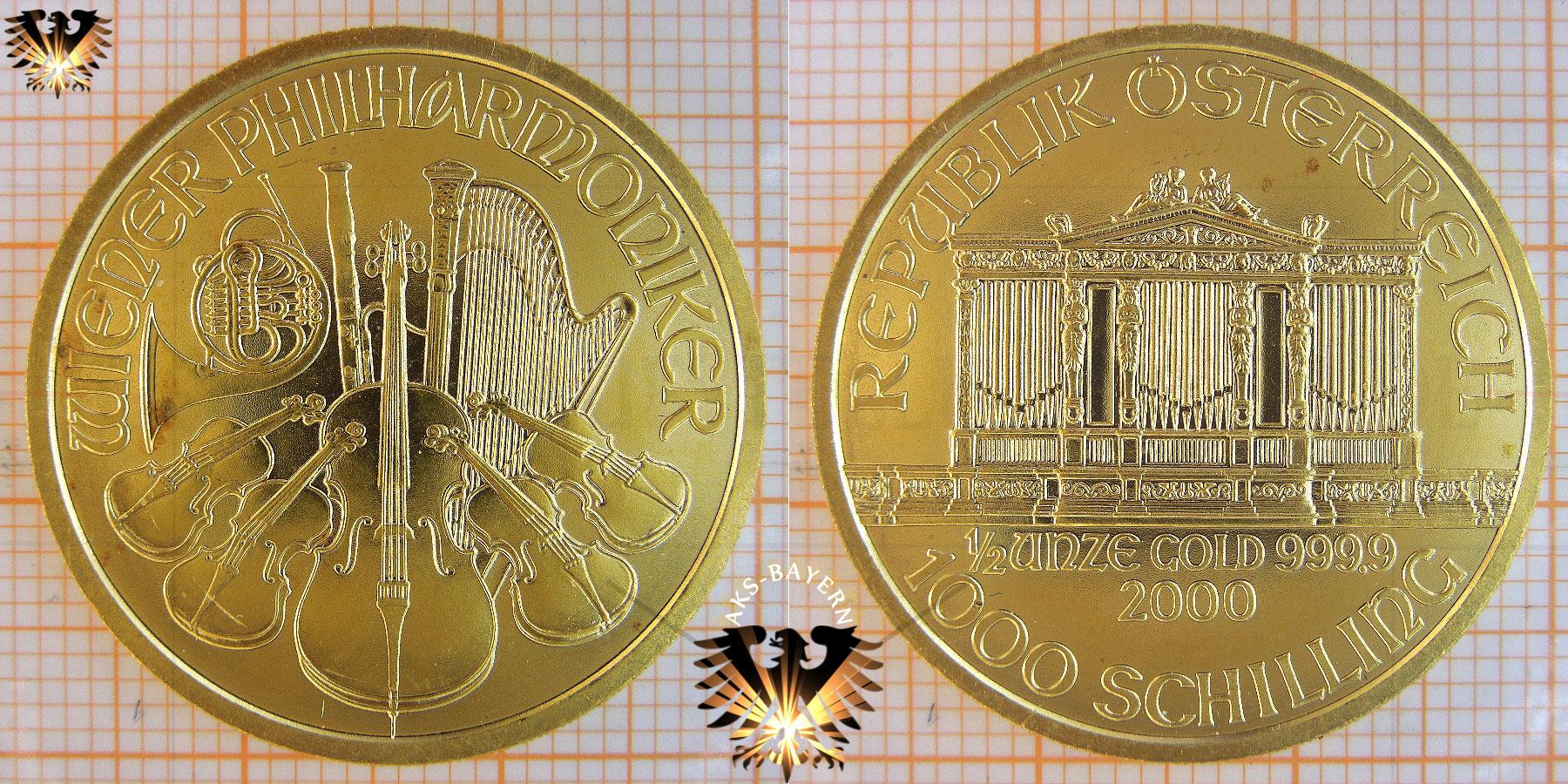 1000 Schilling österreich 2000 Wiener Philharmoniker Halbe Unze