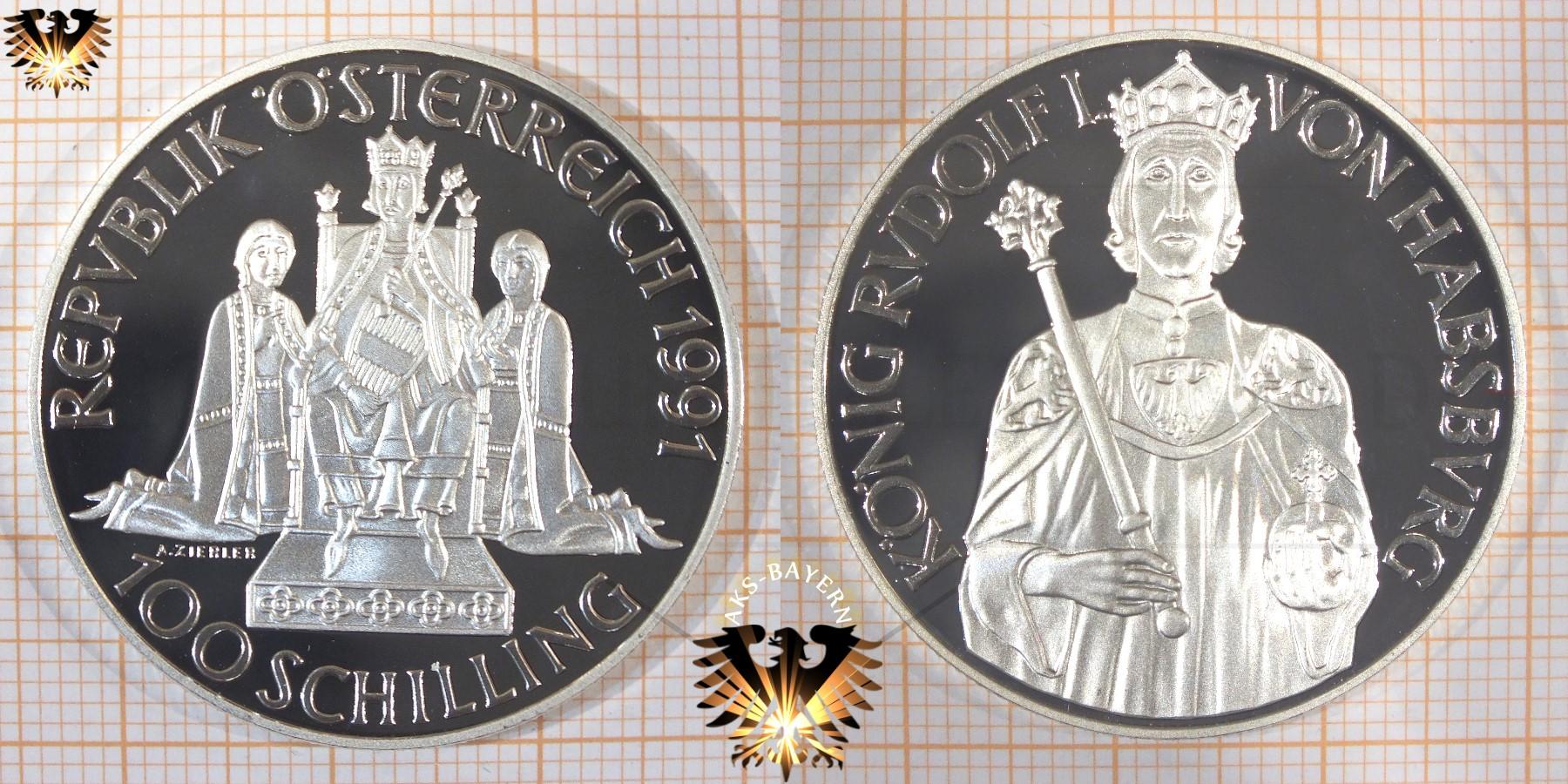 100 Schilling 1991 König Rudolf I Von Habsburg Silbermünze