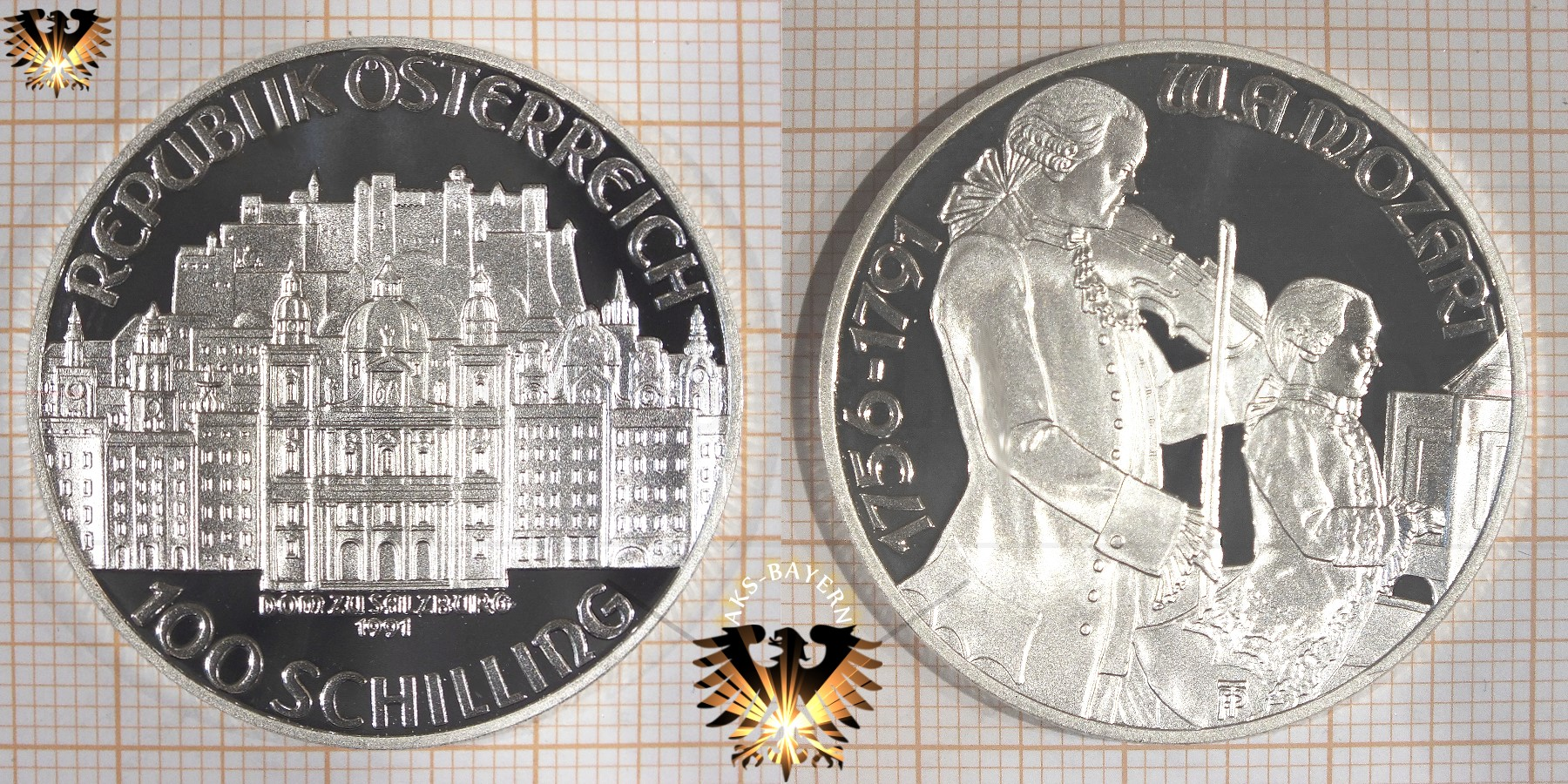 100 Schilling 1991 W A Mozart Wolfgang Amadeus Mozart