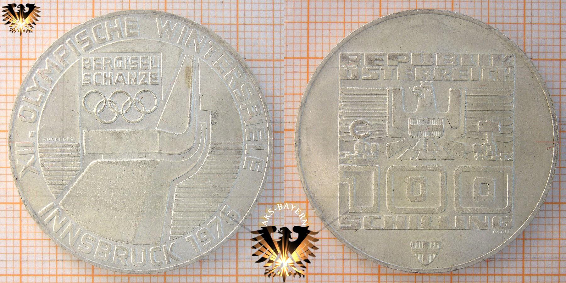 100 Schilling 1974 22 Olympische Spiele Innsbruck 1976