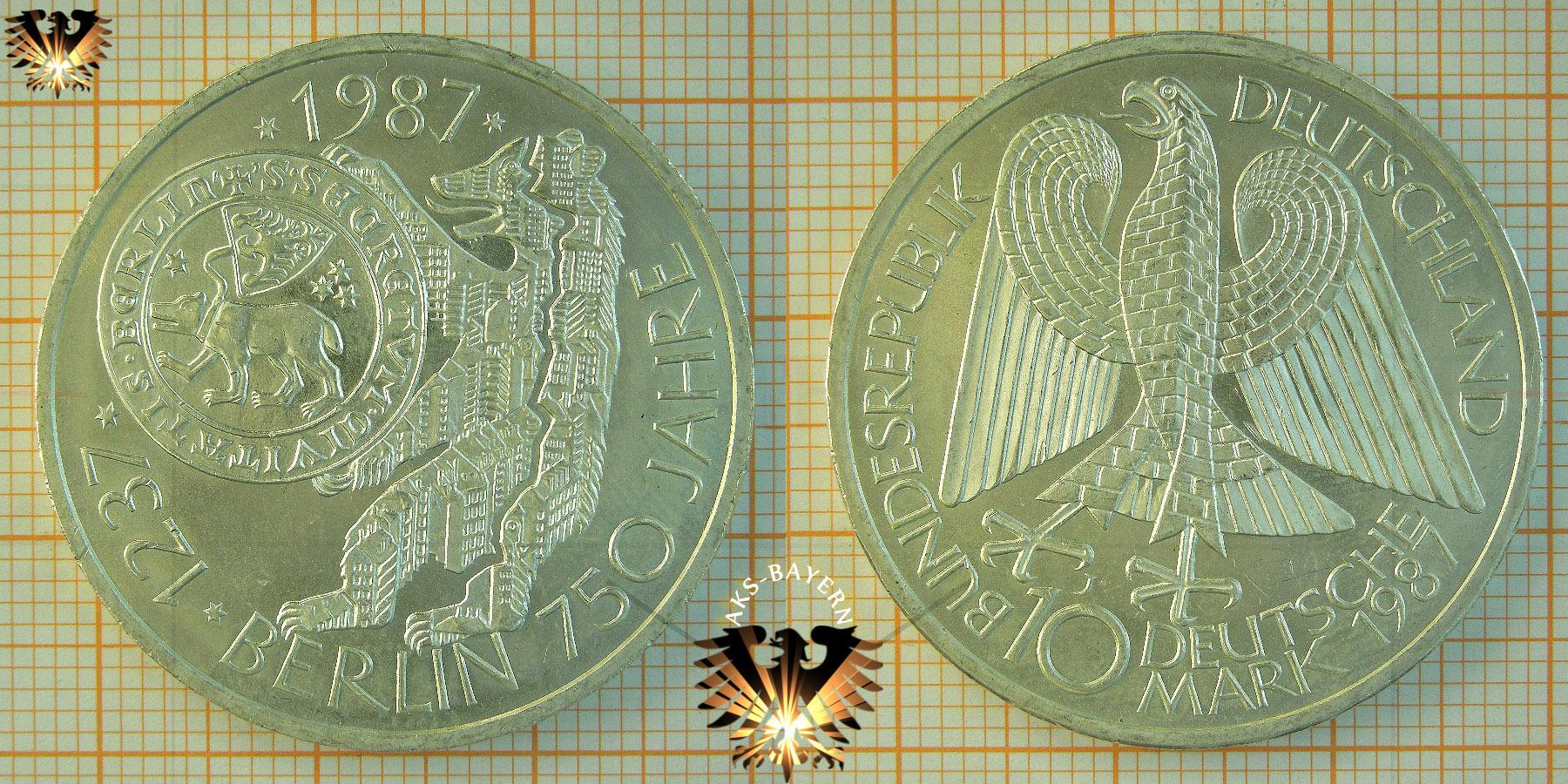 10 Dm Brd 1987 J Berlin 750 Jahre 1237 1987 Silber Gedenkmünze