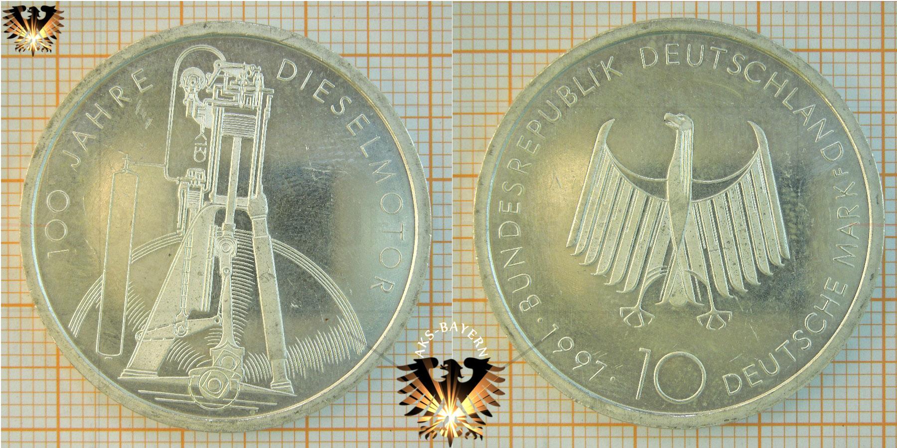 10 Dm Brd 1997 F 100 Jahre Dieselmotor 625er Silber Münze