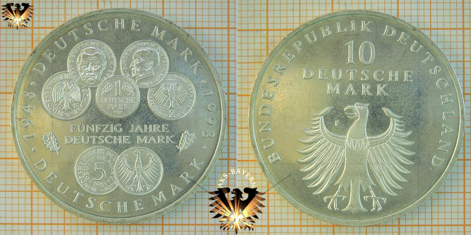 10 Dm Brd 1998 F 50 Jahre Deutsche Mark 1948 1998